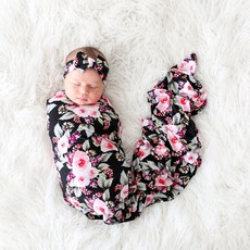 POSH PEANUT MILANA - INFANT SWADDLE AND HEADWRAP SET