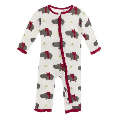 KICKEE PANTS PRINT MUFFIN RUFFLE COVERALL W ZIPPER- NATURAL CHRISTMAS HIPPO