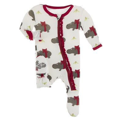 KICKEE PANTS PRINT MUFFIN RUFFLE FOOTIE W ZIPPER- NATURAL CHRISTMAS HIPPO