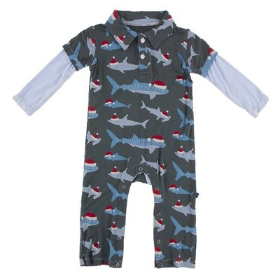 KICKEE PANTS PRINT LS DOUBLE LAYER POLO ROMPER- PEWTER SANTA SHARKS
