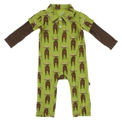 KICKEE PANTS PRINT LS DOUBLE LAYER POLO ROMPER- MEADOW BAD MOOSE