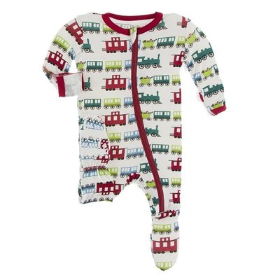 KICKEE PANTS PRINT FOOTIE W ZIPPER- NATURAL TOY TRAIN