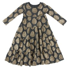 KICKEE PANTS PRINT LS TIERED DRESS- PEWTER PINECONES