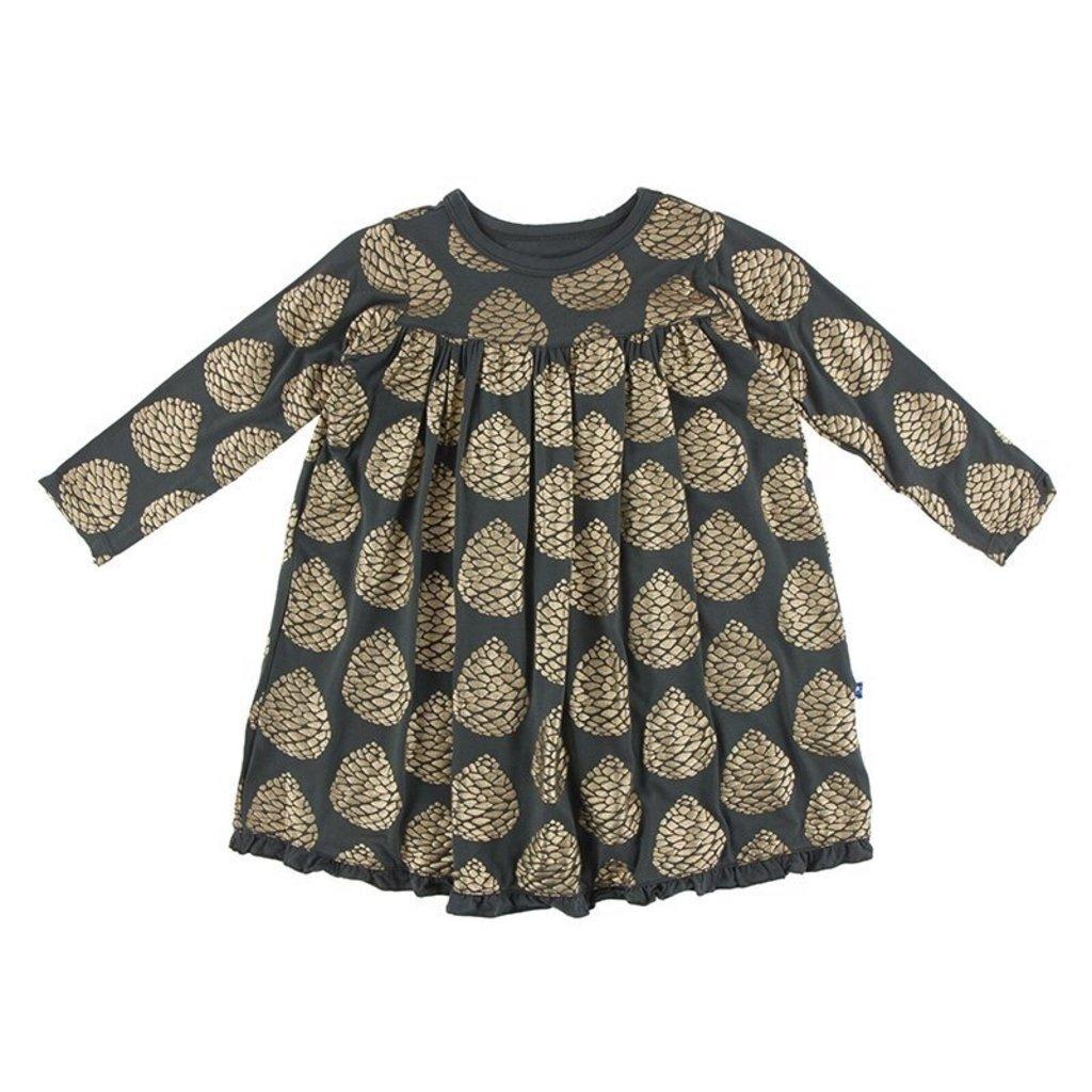 KICKEE PANTS PRINT CLASSIC LS SWING DRESS- PEWTER PINECONES