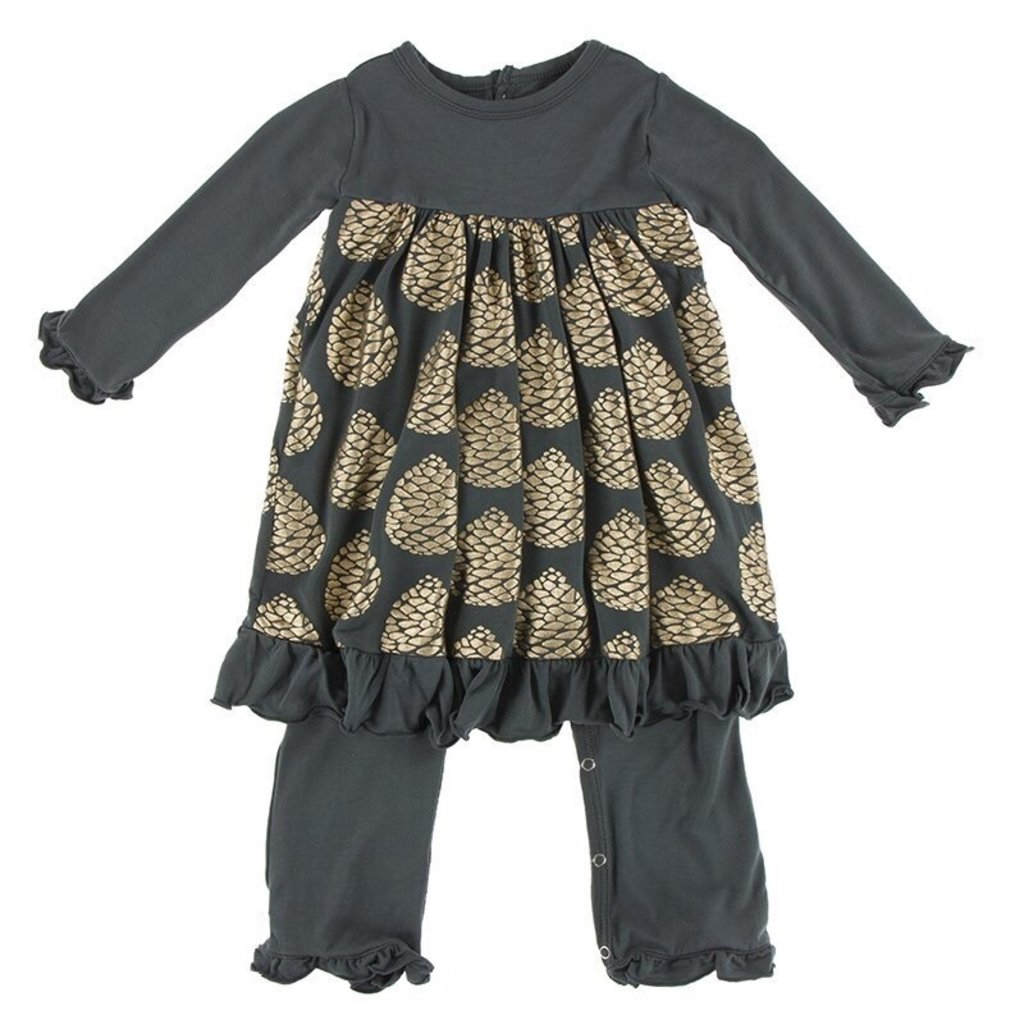 KICKEE PANTS PRINT LS DRESS ROMPER- PEWTER PINECONES