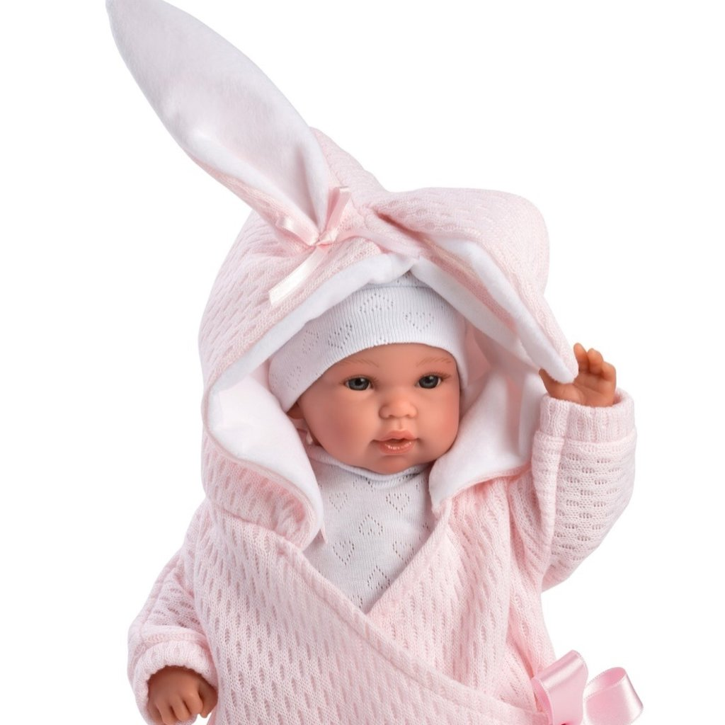 """LLORENS DOLLS AVERY 14"""" NEW BORN DOLL WITH HOODED BUNNY JACKET"""