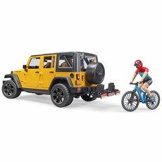 BRUDER JEEP RUBICON WITH MOUNTAIN BIKE AND FIGURE