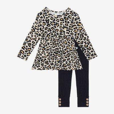 POSH PEANUT LANA LEOPARD TAN - LS BASIC PEPLUM TOP AND LEGGING SET