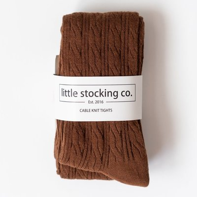 LITTLE STOCKING CO. CHOCOLATE  CABLE KNIT TIGHTS