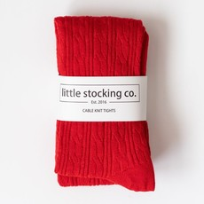 LITTLE STOCKING CO. TRUE RED  CABLE KNIT TIGHTS