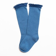 LITTLE STOCKING CO. DENIM BLUE  LACE TOP KNEE HIGH SOCKS