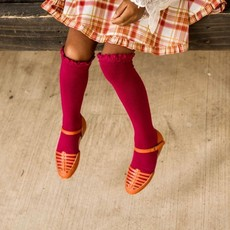 LITTLE STOCKING CO. BERRY LACE TOP KNEE HIGH SOCKS