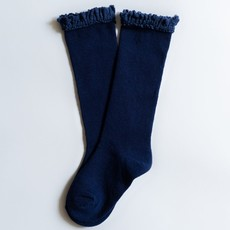LITTLE STOCKING CO. NAVY BLUE LACE TOP KNEE HIGH SOCKS