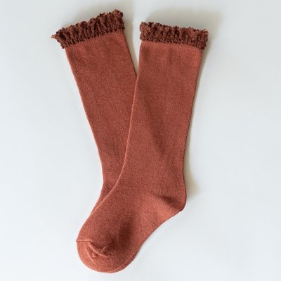 LITTLE STOCKING CO. RUST  LACE TOP KNEE HIGH SOCKS