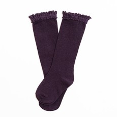 LITTLE STOCKING CO. EGGPLANT  LACE TOP KNEE HIGH SOCKS