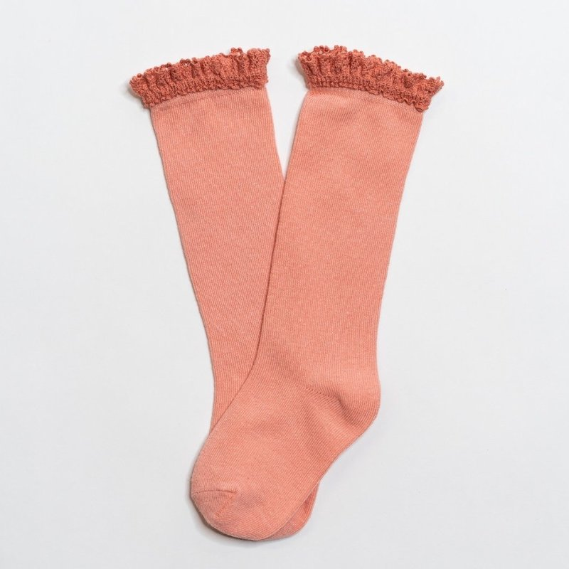 LITTLE STOCKING CO. PEACH  LACE TOP KNEE HIGH SOCKS