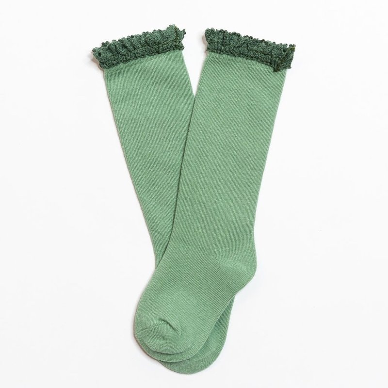 LITTLE STOCKING CO. SPEARMINT  LACE TOP KNEE HIGH SOCKS