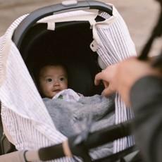 LITTLE UNICORN COTTON MUSLIN CAR SEAT CANOPY 2- GREY STRIPE