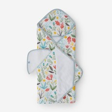 LITTLE UNICORN COTTON HOODED TOWEL AND WASHCLOTH- MEADOW