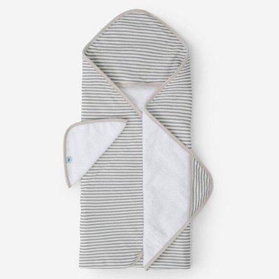 LITTLE UNICORN COTTON HOODED TOWEL AND WASHCLOTH- GREY STRIPE