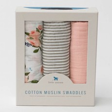 LITTLE UNICORN COTTON MUSLIN SWADDLE 3PK- WATERCOLOR ROSES SET