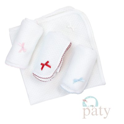 PATY SWADDLE BLANKET WITH COLORED TRIM AND BOW