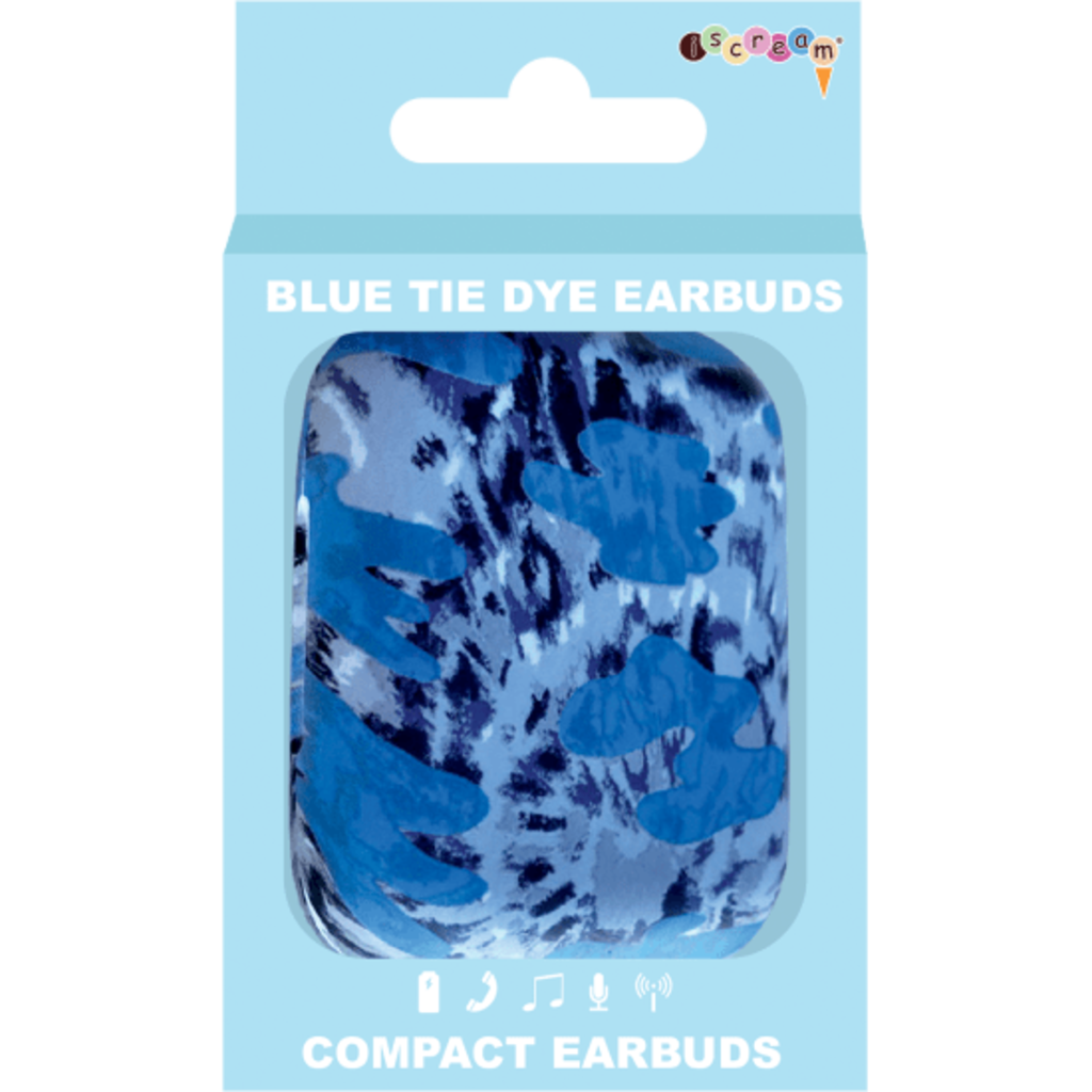ISCREAM BLUE TIE DYE COMPACT EAR BUDS