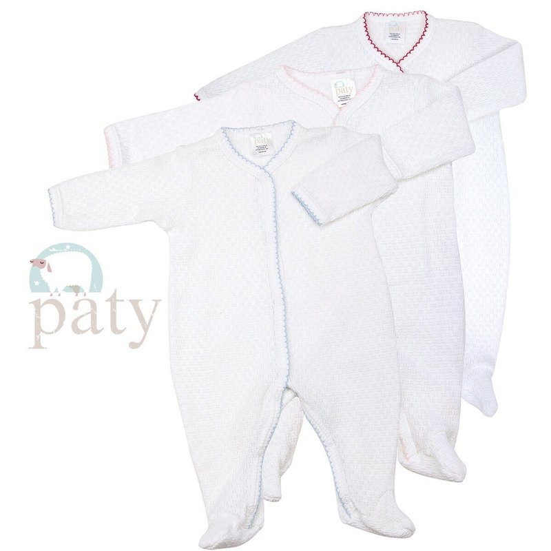 PATY LS WHITE FOOTIE WITH TRIM