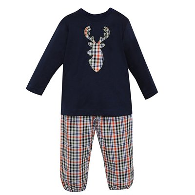 REMEMBER NGUYEN NAVY PLAID JUNIPER DEER PANT SET