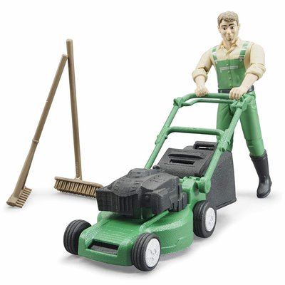 BRUDER BWORLD GARDENER W MOWER AND ACCESSORIES