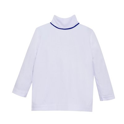 LULLABY SET UNISEX TINY TOT TURTLENECK- WHITE/NAVY
