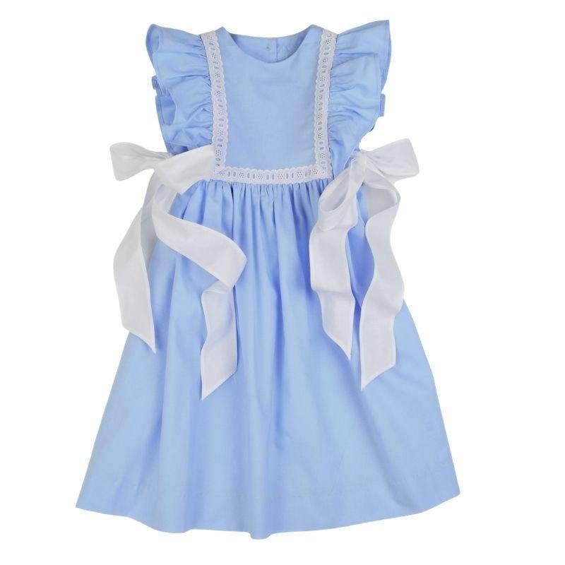 FUNTASIA TOO BLUE PINAFORE DRESS WITH EYELET TRIM