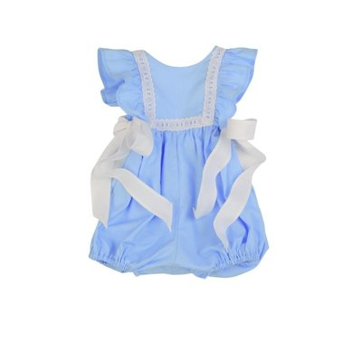 FUNTASIA TOO BLUE PINAFORE BUBBLE WITH EYELET TRIM
