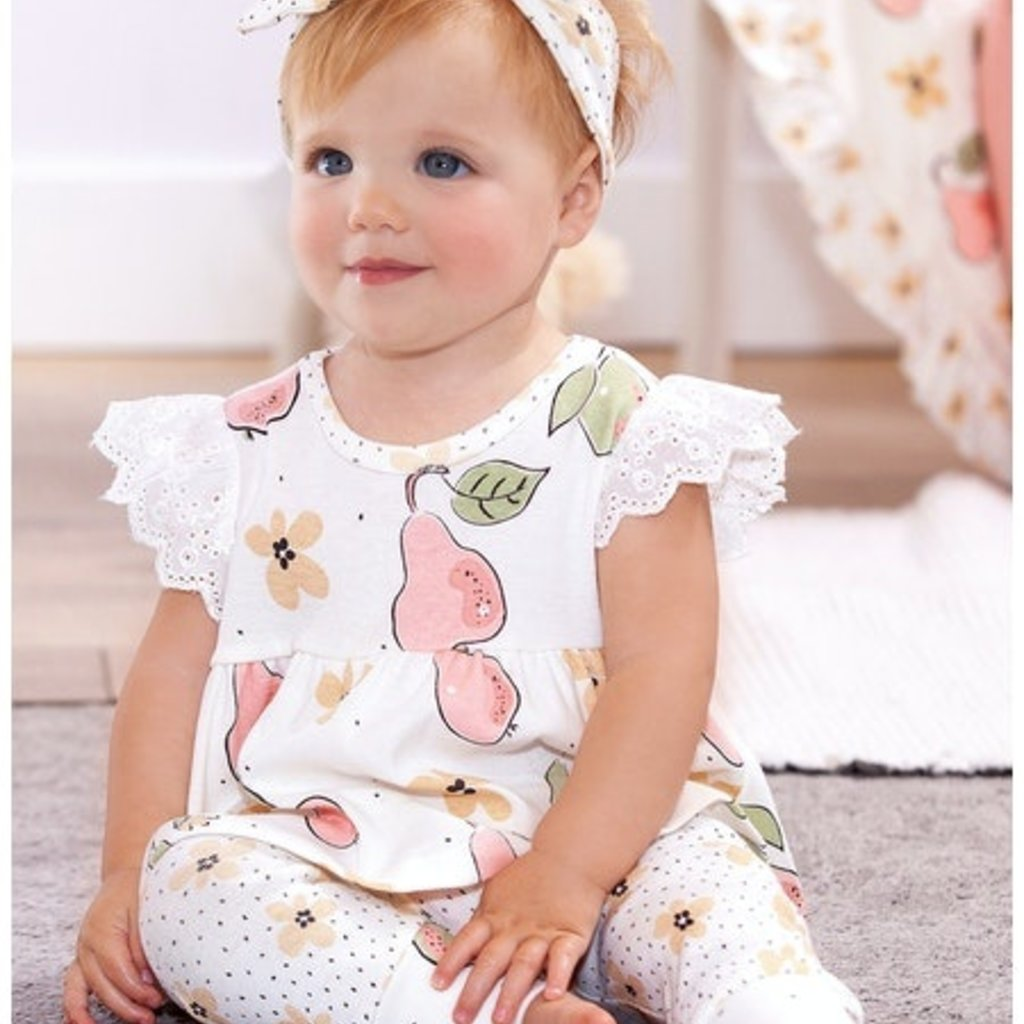 TESA BABE BLOOMING PEARS EYELET FLUTTER TOP AND PANTS
