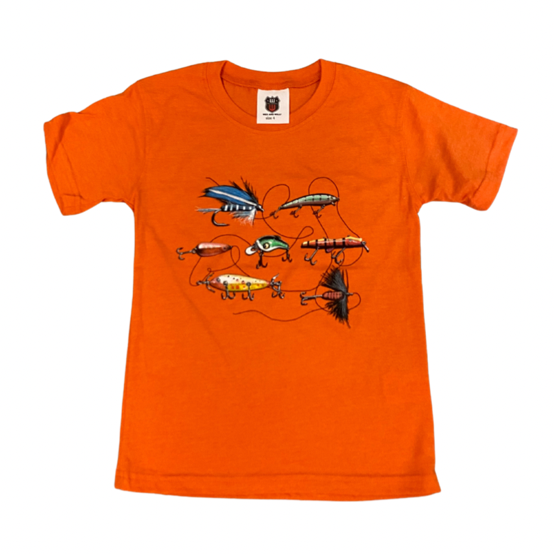 WES AND WILLY FISHING LURES SS TEE- ORANGE CRUSH