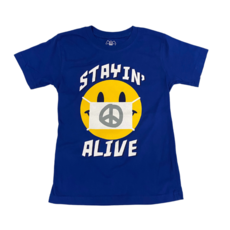 WES AND WILLY SMILEY MASK SS TEE- BLUE MOON