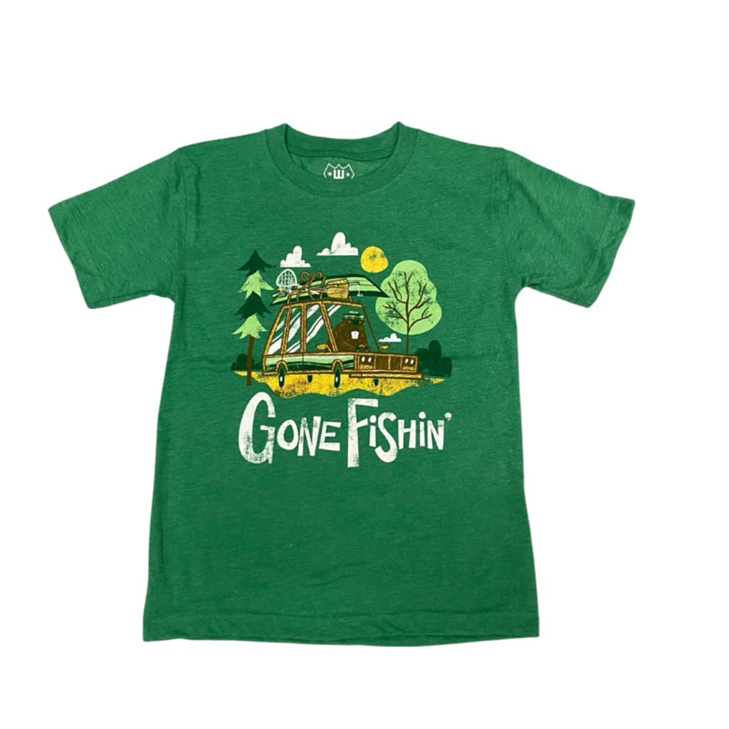 WES AND WILLY GONE FISHIN SS TEE- CLOVER