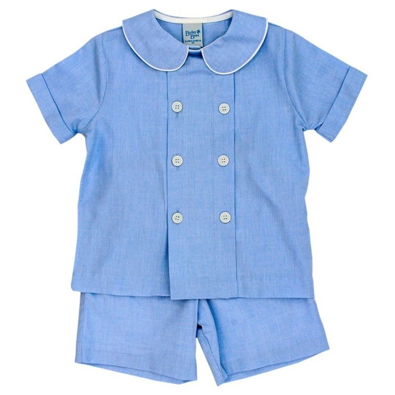 BAILEY BOYS DRESSY SHORT SET- SEA ISLAND PINPOINT