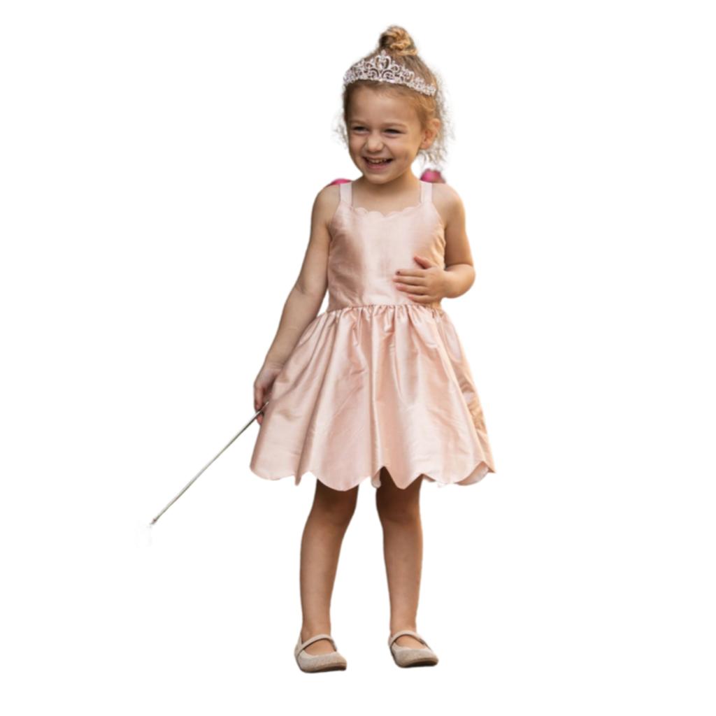 ISOBELLA & CHLOE SCALLOP SILK DRESS- PINK