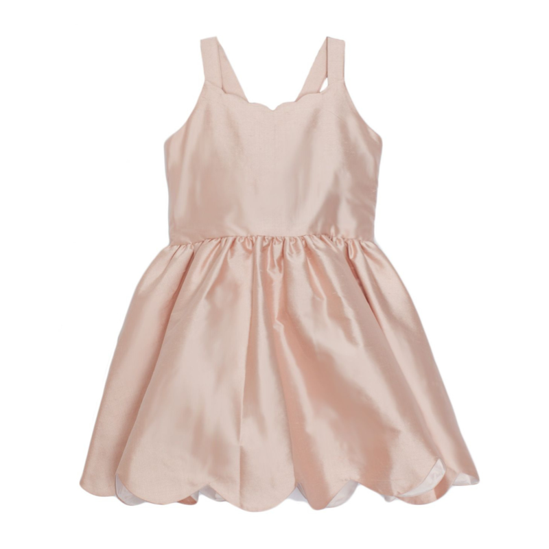 ISOBELLA & CHLOE SCALLOP SILK DRESS- PINK
