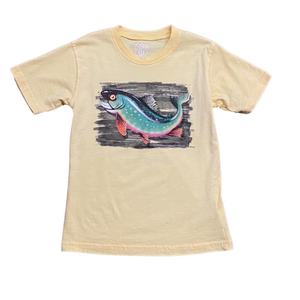WES AND WILLY TROUT SS TEE- BUTTER