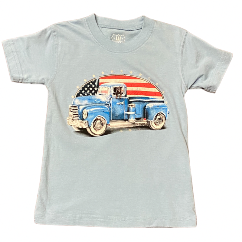 WES AND WILLY PATRIOTIC TRUCK SS TEE- NC BLUE