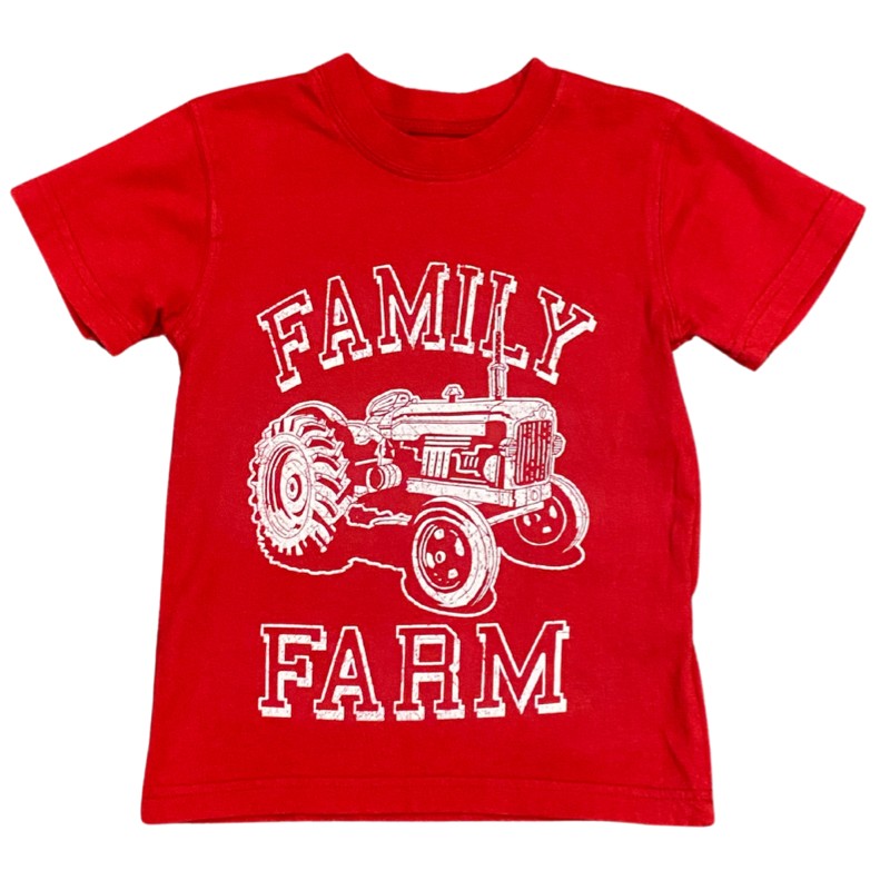 WES AND WILLY TRACTOR SS TEE- BULLSEYE RED