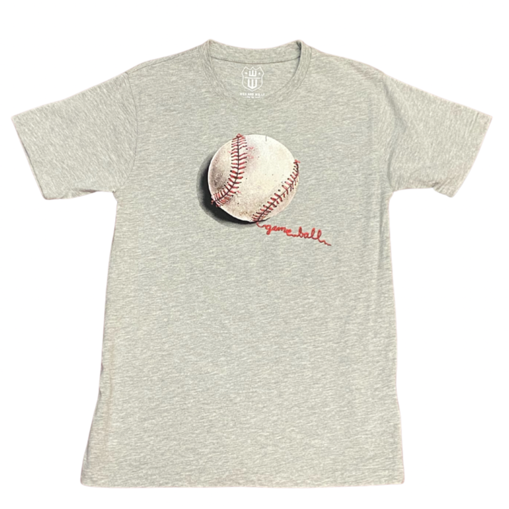 WES AND WILLY BASEBALL SS TEE- HEATHER