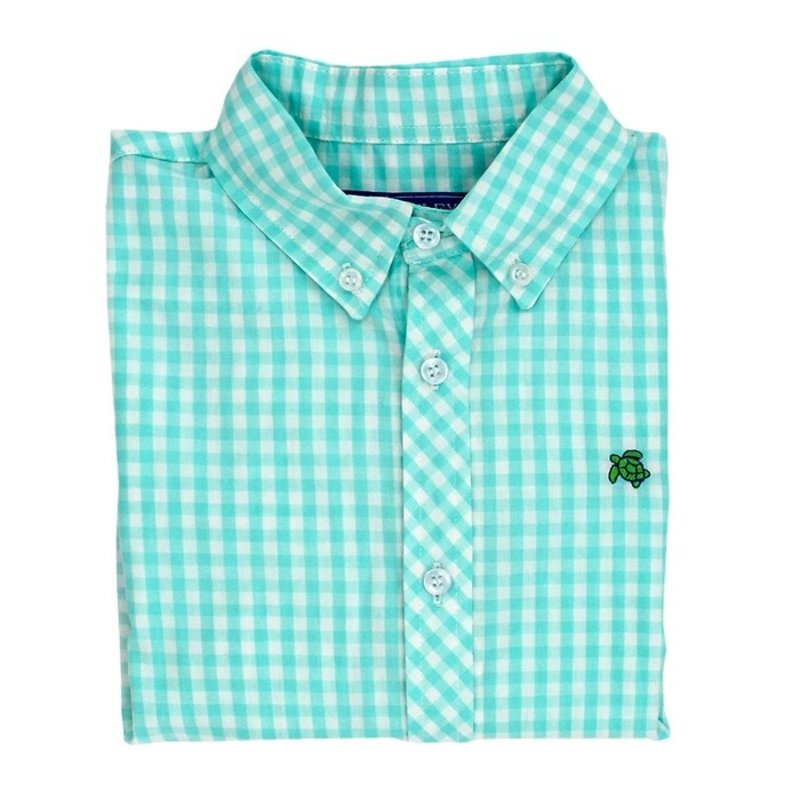 J.BAILEY BUTTON DOWN SHIRT- MINT GINGHAM
