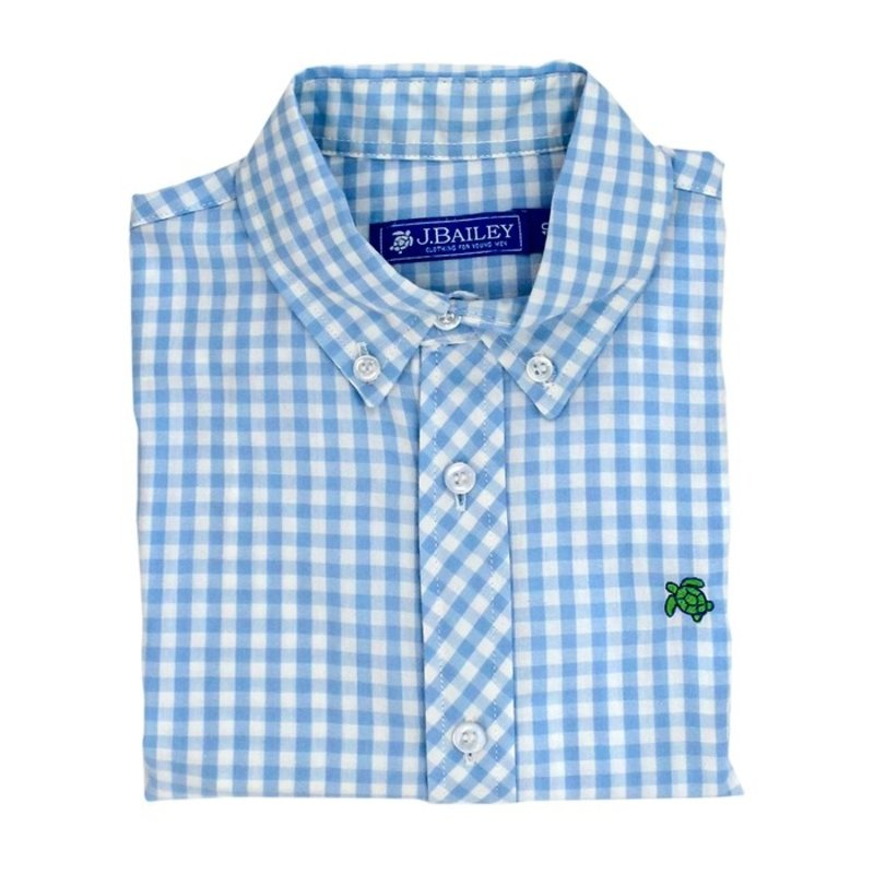 J.BAILEY BUTTON DOWN SHIRT- BLUE GINGHAM
