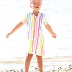 RUFFLE BUTTS RAINBOW STRIPE RUFFLE TERRY COVER-UP