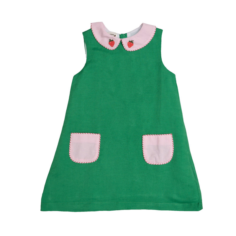 THE OAKS APPAREL COMPANY VIRGINIA GREEN STRAWBERRY DRESS
