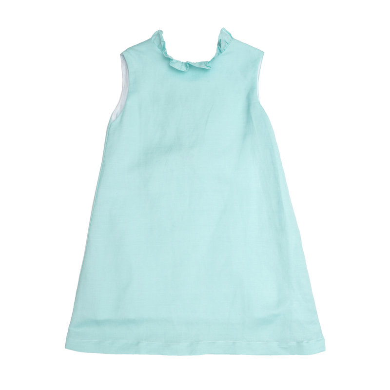 THE OAKS APPAREL COMPANY SLOAN AQUA RUFFLED DRESS