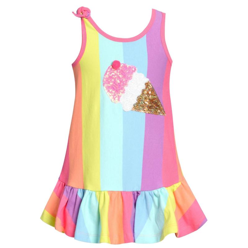Baby Sara RAINBOW STRIPE DRESS W ICE CREAM PATCH DETAIL